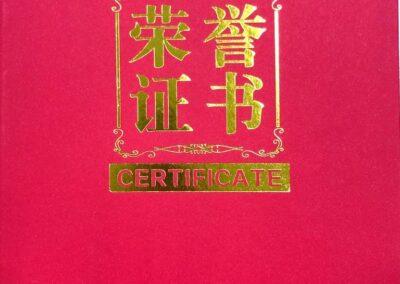 Certificat d'honneur - concours international horticole de Beijing 2020